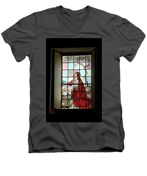 Mokuaikaua Church Stained Glass Window Men's V-Neck T-Shirt