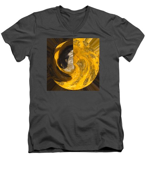 Molten Gold Planet Men's V-Neck T-Shirt
