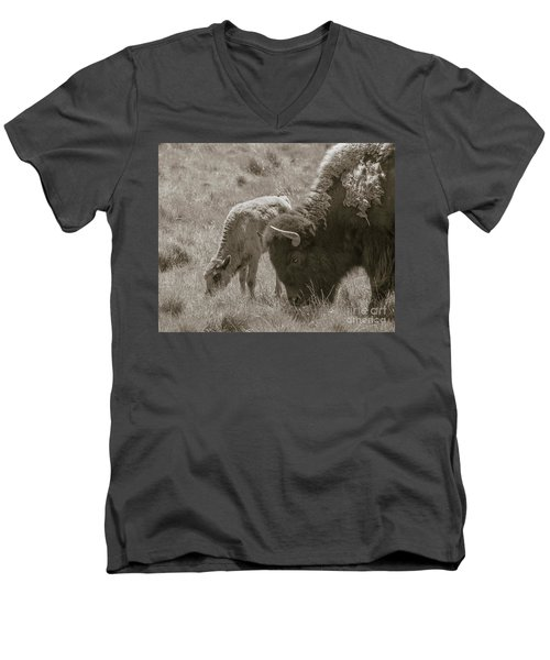 Men's V-Neck T-Shirt featuring the photograph Mom And Baby Buffalo by Rebecca Margraf