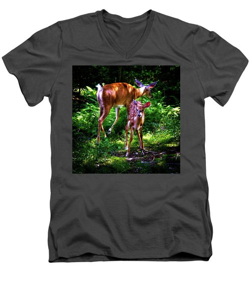 Men's V-Neck T-Shirt featuring the photograph Mom And Fawn by David Patterson
