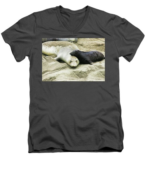 Men's V-Neck T-Shirt featuring the photograph Mom And Pup by Anthony Jones