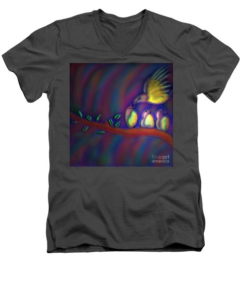 Men's V-Neck T-Shirt featuring the digital art Mom by Latha Gokuldas Panicker