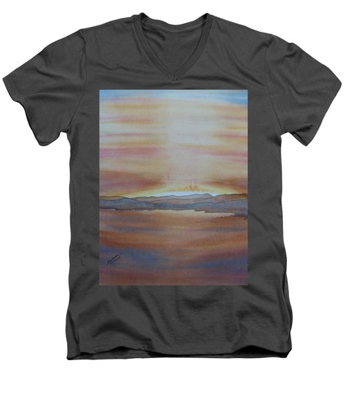 Men's V-Neck T-Shirt featuring the painting Moment By The Lake by Joel Deutsch
