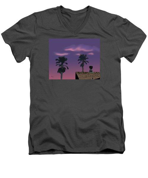 Men's V-Neck T-Shirt featuring the digital art Mom's House by Walter Chamberlain