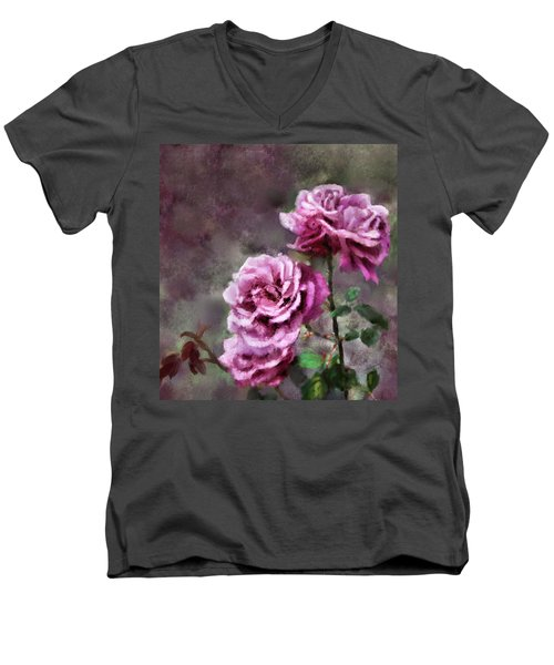 Men's V-Neck T-Shirt featuring the digital art Moms Roses by Susan Kinney