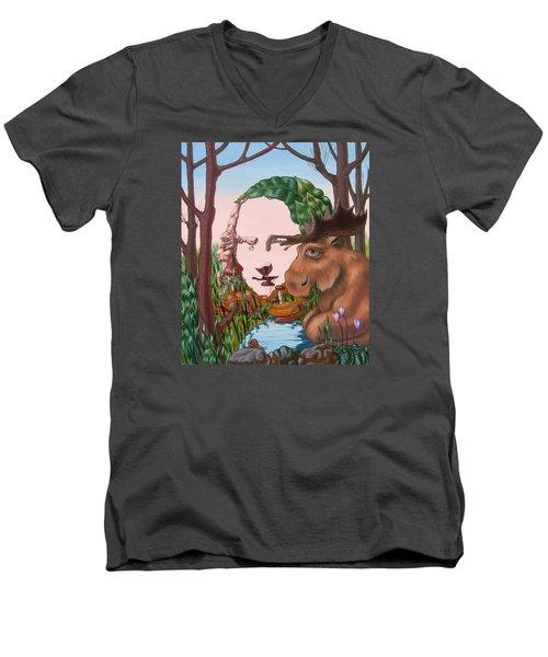 Mona Lisa . Earth Men's V-Neck T-Shirt