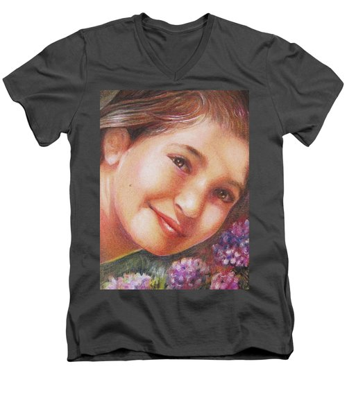 Mona Lisa's Smile Men's V-Neck T-Shirt by Patricia Schneider Mitchell