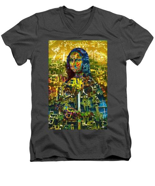 Men's V-Neck T-Shirt featuring the mixed media Mona by Tony Rubino