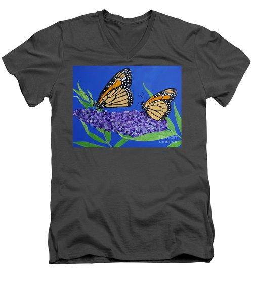 Monarch Butterflies On Buddleia Flower Men's V-Neck T-Shirt
