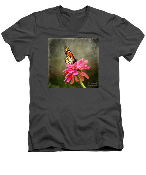 Monarch Butterfly And Pink Zinnia Men's V-Neck T-Shirt by Judy Palkimas