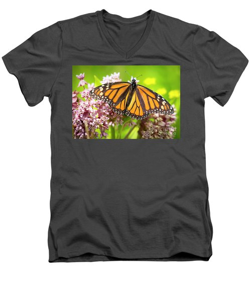 Men's V-Neck T-Shirt featuring the photograph Monarch Butterfly Closeup  by Ricky L Jones
