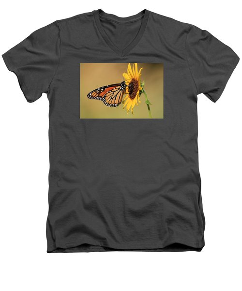 Men's V-Neck T-Shirt featuring the photograph Monarch Butterfly On Sun Flower by Sheila Brown