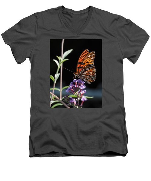 Monarch On Butterfly Bush Men's V-Neck T-Shirt