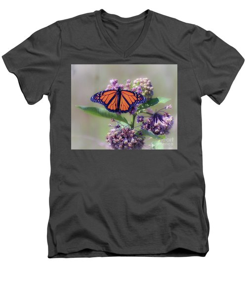 Men's V-Neck T-Shirt featuring the photograph Monarch On The Milkweed by Kerri Farley