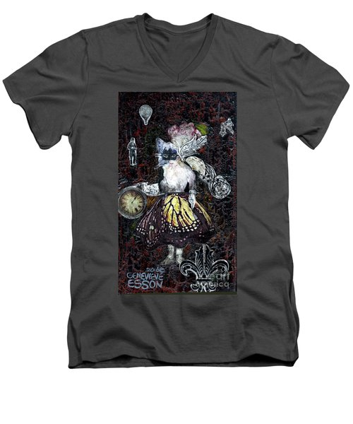 Men's V-Neck T-Shirt featuring the mixed media Monarch Steampunk Goddess by Genevieve Esson