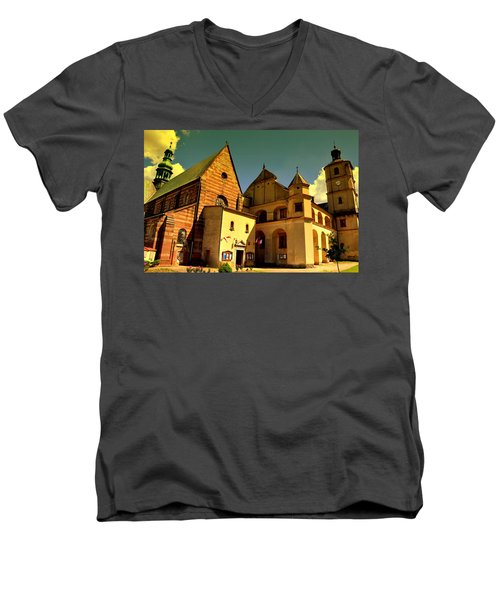 Monastery In The Wachock/poland Men's V-Neck T-Shirt