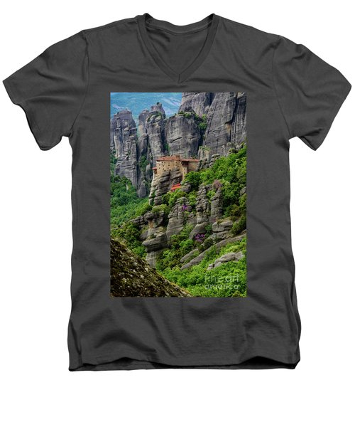 Monastery Of Saint Nicholas Of Anapafsas, Meteora, Greece Men's V-Neck T-Shirt