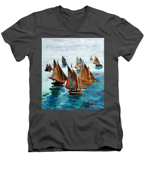 Monet Fishing Boats Calm Seas Men's V-Neck T-Shirt