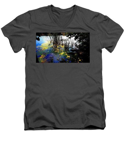 Monet Ice Age Pond Men's V-Neck T-Shirt