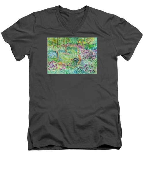Monet Inspired Iris Garden Men's V-Neck T-Shirt