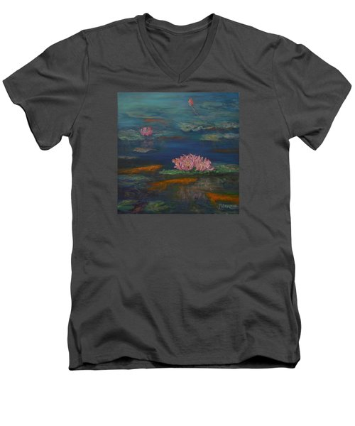 Monet Inspired Water Lilies With Gold Fish In A Pond Men's V-Neck T-Shirt