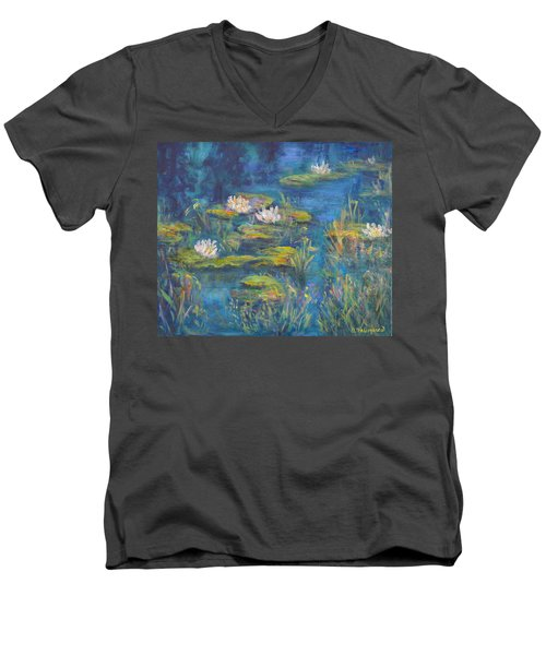 Monet Style Water Lily Marsh Wetland Landscape Painting Men's V-Neck T-Shirt