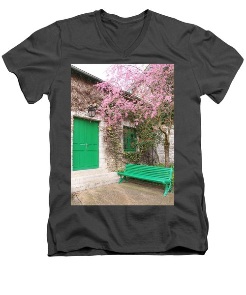 Monet's Bench Men's V-Neck T-Shirt by Catherine Alfidi