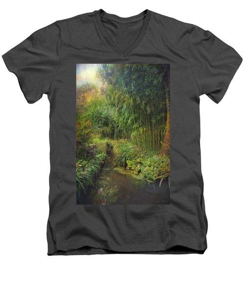 Monets Paradise Men's V-Neck T-Shirt by John Rivera