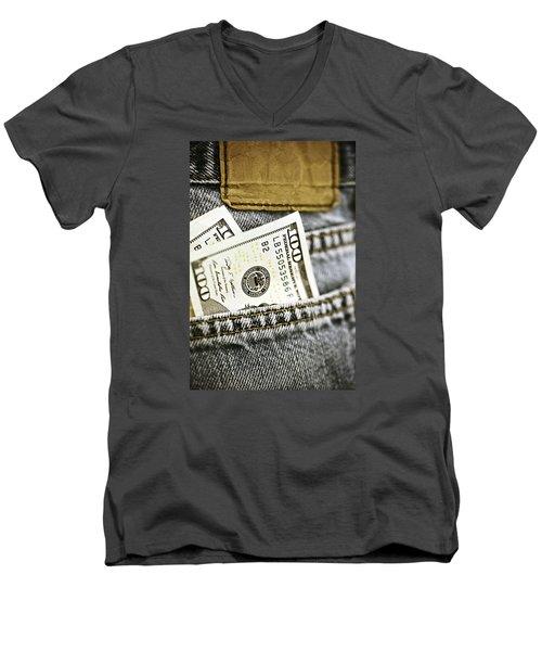 Men's V-Neck T-Shirt featuring the photograph Money Jeans by Trish Mistric