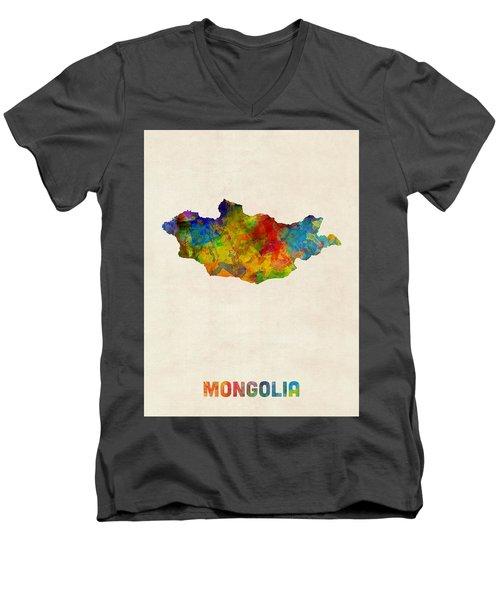 Men's V-Neck T-Shirt featuring the digital art Mongolia Watercolor Map by Michael Tompsett