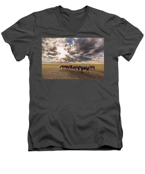 Men's V-Neck T-Shirt featuring the photograph Mongolian Horses by Hitendra SINKAR