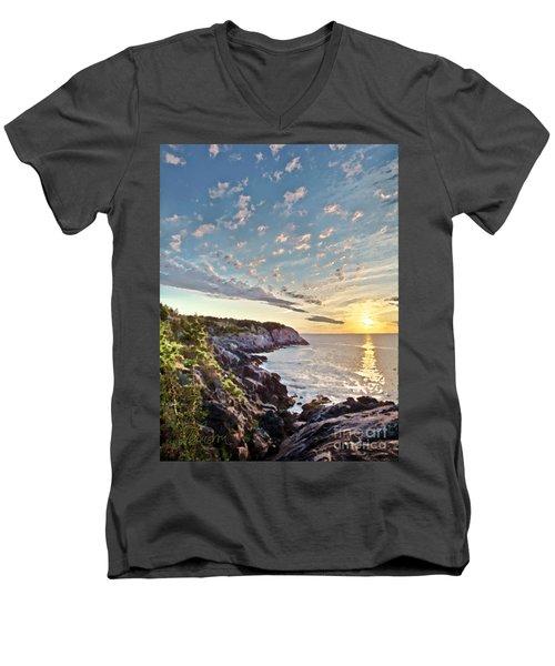 Monhegan East Shore Men's V-Neck T-Shirt by Tom Cameron