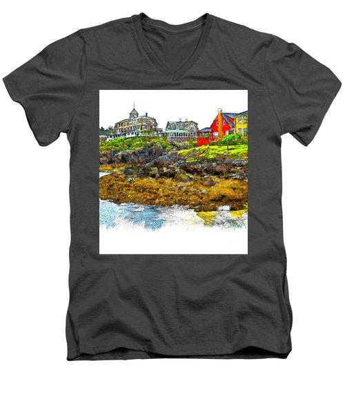 Monhegan West Shore Men's V-Neck T-Shirt by Tom Cameron