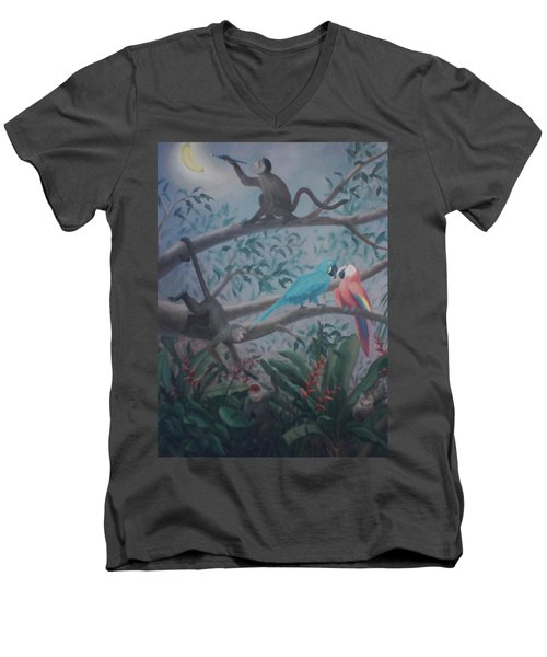 Monkey Artist Painting The Moon  Men's V-Neck T-Shirt