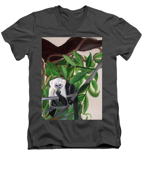 Monkey Detail 2 From Mural Men's V-Neck T-Shirt