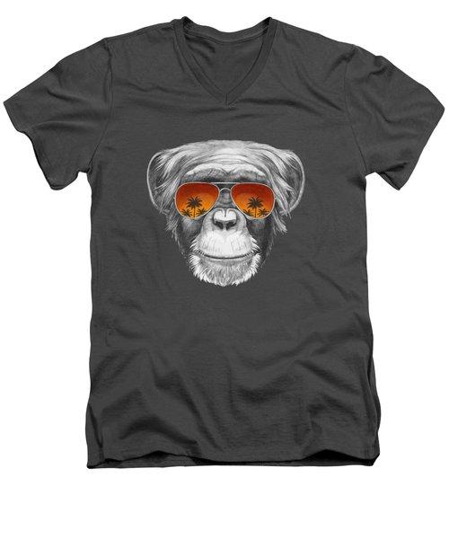 Monkey With Mirror Sunglasses Men's V-Neck T-Shirt