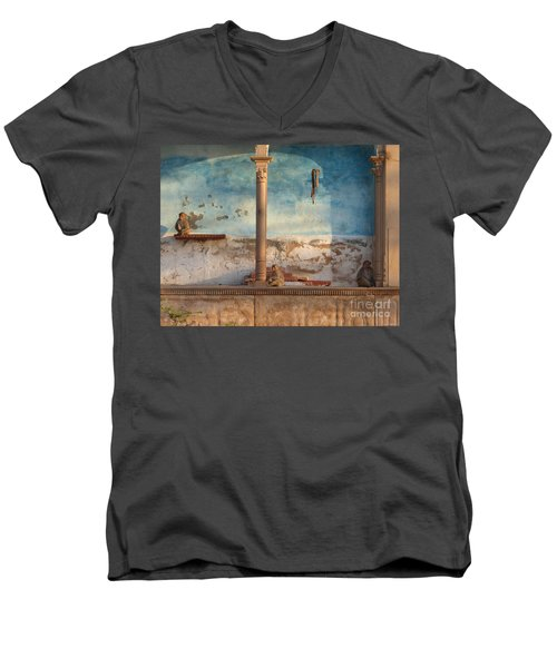 Men's V-Neck T-Shirt featuring the photograph Monkeys At Sunset by Jean luc Comperat
