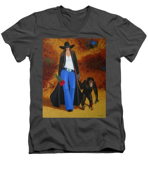 Monkeys Best Friend Men's V-Neck T-Shirt