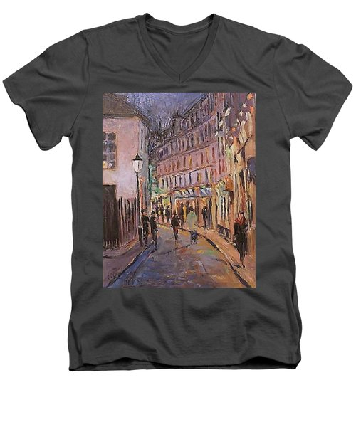 Men's V-Neck T-Shirt featuring the painting Monmartre by Walter Casaravilla