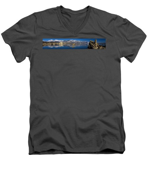 Mono Lake Pano Men's V-Neck T-Shirt by Wes and Dotty Weber