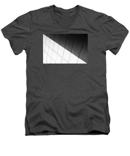 Monochrome Building Abstract 3 Men's V-Neck T-Shirt by John Williams