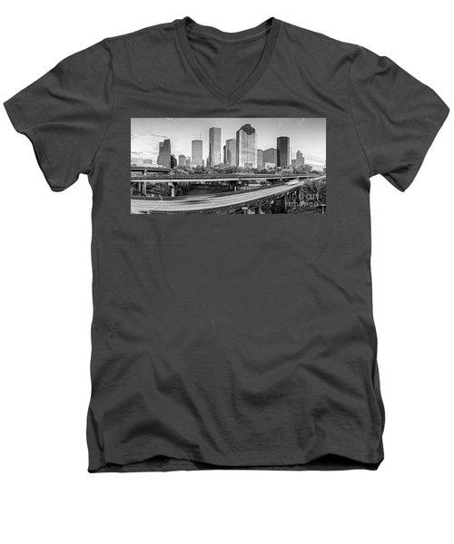 Monochrome Panorama Of Downtown Houston Skyline From Buffalo Bayou Park - Harris County Houston Texa Men's V-Neck T-Shirt