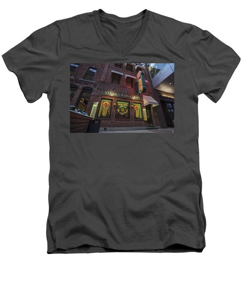 Men's V-Neck T-Shirt featuring the photograph Monroe St Steakhouse by Nicholas Grunas