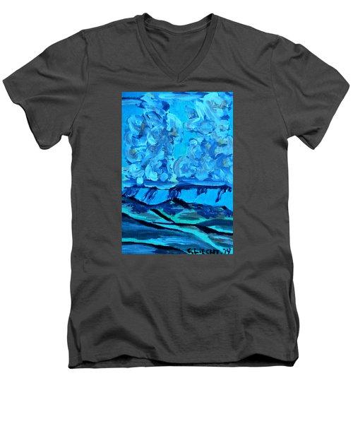Men's V-Neck T-Shirt featuring the painting Monsoon Desert Storms IIi by Carolina Liechtenstein