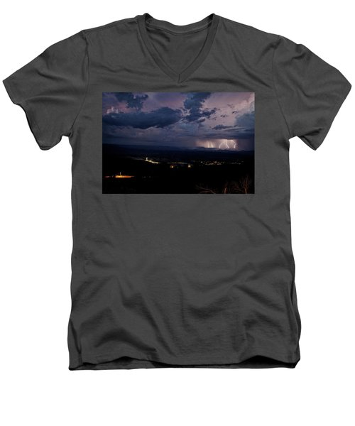 Men's V-Neck T-Shirt featuring the photograph Monsoon Lightning Over Sedona From Jerome Az by Ron Chilston