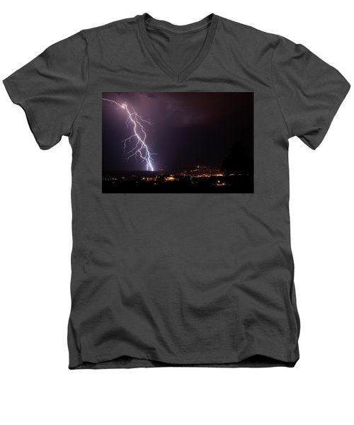 Men's V-Neck T-Shirt featuring the photograph Monsoon Storm by Ron Chilston