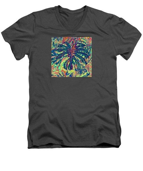 Monstera Leaf Patterns - Square Men's V-Neck T-Shirt by Kerri Ligatich