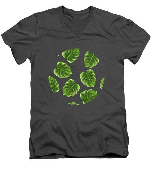 Monstera Leaves Greenery Tropical Aloha Bohemian Decor Men's V-Neck T-Shirt