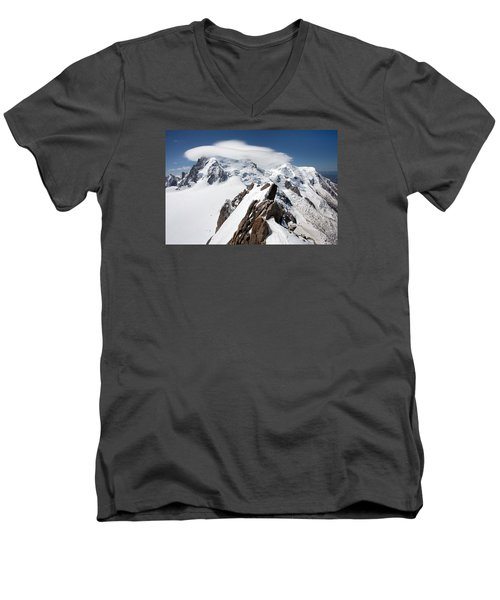 Mont Blanc And Ufo Men's V-Neck T-Shirt by Aivar Mikko