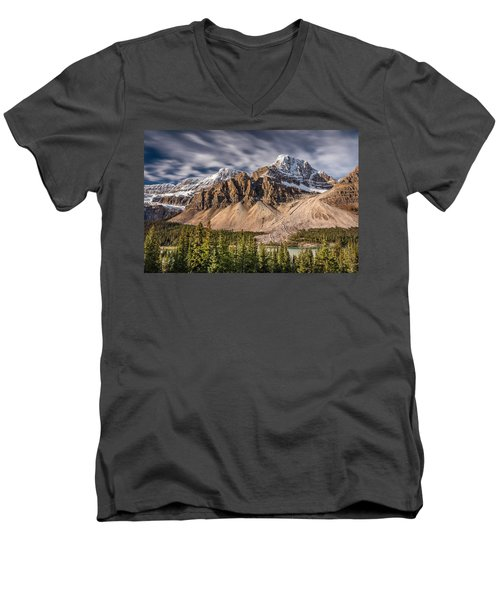 Mont Crowfoot On The Icefield Parkway Men's V-Neck T-Shirt by Pierre Leclerc Photography